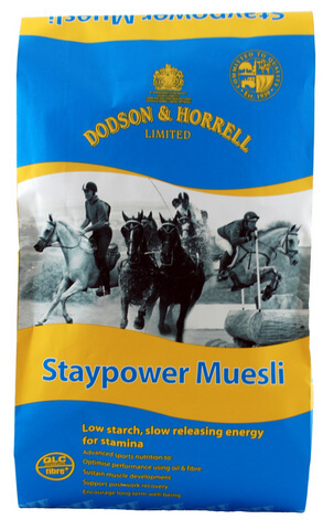 Staypower Muesli provides slow releasing energy from fibre and oil which is ideal for competition horses performing in disciplines which require sustained fuel and stamina.
